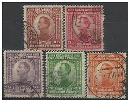 YU 1923-169-73 DEFINITVE, YUGOSLAVIA, 1 X 5v, Used - 1919-1929 Königreich Der Serben, Kroaten & Slowenen