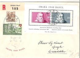 Schweiz Suisse 1948: IMABA Zu WIII31 Mi Block 13 Yv BF 13 R-Brief Illustriert Mit O BASEL 26.VIII.48 (Zu CHF 120.00) - Blocs & Feuillets