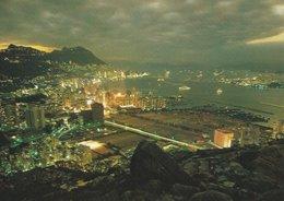 Hong Kong At  Night.  Japan Airlines Card.  A-156 - China (Hong Kong)