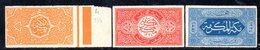 APR523 - ARABIA SAUDITA   HEDJAZ  1916 , Tre Valori Nuovi * Prove Non Dentellate   (2380A) . - Arabia Saudita
