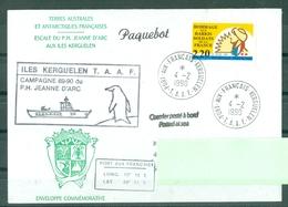 MARCOPHILIE - P.H. JEANNE D'ARC ESCALE AUX ILES KERGUELEN CAMPAGNE 89-90 Cachet Du 4 - 2 - 1990 - Marcophilie (Lettres)