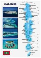 Maldives Islands Map New Postcard Malediven Landkarte AK - Maldiven