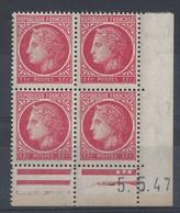 CERES N° 676 - Bloc De 4 COIN DATE - NEUF SANS CHARNIERE - 5/5/47 - 1940-1949