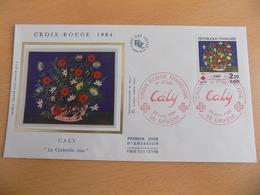 "FDC France : Croix Rouge 1984, Caly ""La Corbeille Rose"" - Grasse 24/11/1984 - 1980-1989"