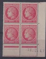 CERES N° 676 - Bloc De 4 COIN DATE - NEUF SANS CHARNIERE - 18/2/47 - 1940-1949