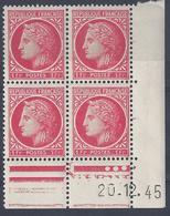 CERES N° 676 - Bloc De 4 COIN DATE - NEUF SANS CHARNIERE - 20/12/45 - 1940-1949