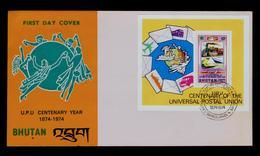 U.P.U. Bhutan Fdc S/S Bloc Transports Railway Old And Modern Trains Tren Gc3859 - UPU (Union Postale Universelle)