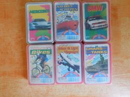 6 Jeux De Cartes De Familles, Mercedes, BMW, Navires, Chars, Avions De Ligne, Bikes  (Box2) - Autres Collections
