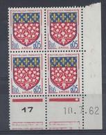 BLASON AMIENS N° 1352 - Bloc De 4 COIN DATE - NEUF SANS CHARNIERE - 10/7/62 - 1960-1969