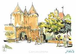 Aquarelle De Jacques Guibillon Carcassonne L'Esplanade Du Prado Les Tours Narbonaises RV Edit Loubatières - Carcassonne