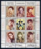 YUGOSLAVIA 2001 Women Chess Masters Used.  Michel 3017-24 - 1992-2003 République Fédérale De Yougoslavie