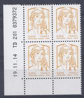 MARIANNE CIAPPA Et KAVENA N° 4763 - Bloc De 4 COIN DATE - NEUF SANS CHARNIERE - 19/11/14 - Coins Datés