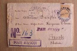 REGNO ROMANIA BUSTA VIAGGIATA POSTA AEREA DA BUCAREST PER TRIESTE TRANSITO VIENNA FLUGPOST 1923 - 1. Weltkrieg (Briefe)