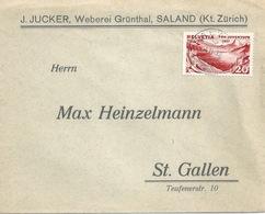 """Motiv Brief  """"Jucker, Weberei Grünthal, Saland""""         1932 - Svizzera"""