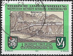 AUSTRIA 1989 Upper Styrian People, Coins, Markets Exhibition, Judenburg - 4s Judenburg (17th-century Engraving) FU - 1945-.... 2ème République