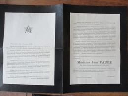 TOURNAI MADAME JEAN FAURE NEE MARIE THERESE JOSEPH SUZANNE D'HALLUIN DECEDEE LE 30 NOVEMBRE 1928 CHEZ SES PARENTS A ROUB - Avvisi Di Necrologio