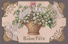 MUGUET- BONNE FÊTE - PORTE-BONHEUR - Panier En Osier Bouquet De Muguet Chromo Découpis,ruban De Satin Rose. - Other