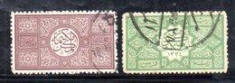 APR524 - ARABIA SAUDITA   HEDJAZ  1917 , Due Valori  Usati Zigzag (2380A). - Arabia Saudita