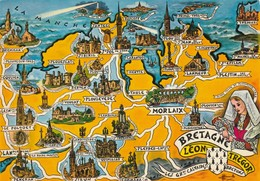 AK Bretagne, Leon - Tregor,, Map, Landkarte, Geografiekarte - Maps
