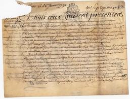 Véritable Parchemin Manuscrit Acte Notarié Notaire Liger Procureur 1783 Cachet Généralité D'Orléans 2 Pages - Manuscrits