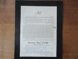 TOURNAI MONSIEUR HENRI FAURE TERTIAIRE DE SAINT-FRANCOIS DECEDE LE 21 MAI 1929 DANS SA 73e ANNEE SERVICE A LILLE EGLISE - Décès