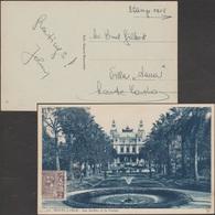 Monaco 1925 Y&T 12, 2 C Seul Sur Carte Pour L'intérieur, Tarif Imprimé. Usage RRR. Vue : Les Jardins Et Le Casino - Monaco