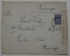 1916 Russia Censura Lettera S.Pietroburgo Via Mosca Destinazione USA (WURT.10 - 1857-1916 Impero