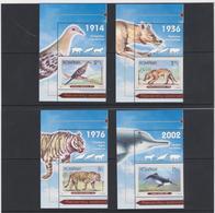 ROMANIA -2017-RECENTLY EXTINCT SPECIES(Passenger Pigeon;Tasmanian Tiger;Javan Tiger;Baiji) - Set 4 Val With Labels MNH** - 1948-.... Républiques