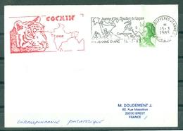 MARCOPHILIE - P.H.JEANNE D'ARC - DOUDART DE LAGREE Escale à COCHIN INDE Flamme Du P.H. Du 15 - 3 - 1983 - Poste Navale