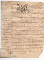 Véritable Parchemin Manuscrit Acte Notarié Notaire Royal Rousselle 1703 Cachet Généralité D'Orléans 3 S. 4 D. 4 Pages - Manuscrits