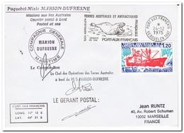 Frans Antarctica 1978, Ship, Letter To Marseille - Franse Zuidelijke En Antarctische Gebieden (TAAF)