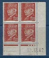 "FR Coins Datés  YT 515 "" Pétain 1F20 Brun "" Neuf** Du 12.12.42 - 1940-1949"