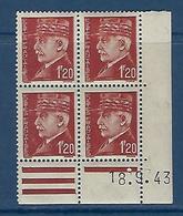 "FR Coins Datés  YT 515 "" Pétain 1F20 Brun "" Neuf** Du 18.9.43 - 1940-1949"