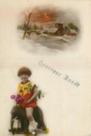 FANTAISIE - FILLETTE - LITTLE GIRL - MÄDCHEN - SUR ELEPHANT A ROULETTES - OAYSAGE ENNEIGE - HEUREUSE ANNEE - Children
