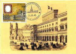 ITALIA - 1985 TORINO Ann. Filatelico Giorno Emissione (Mole Antonelliana) Su Cartolina Maximum (Palazzo Carignano) - Architettura