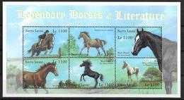 SIERRA LEONE Feuillet  N°  3399/04   * *  ( Cote 15e ) Chevaux Legendaires De La Litterature - Chevaux