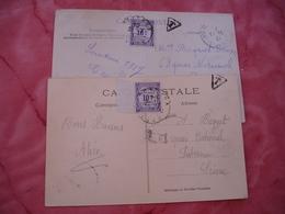 Lot 2 Lettre Taxee Timbre Recouvrements 10 C Valeurs Impayes Violet - Lettres Taxées