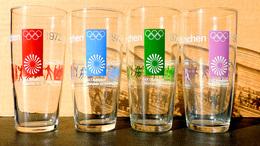 Bel Ensemble De 4 Verres Jeux Olympiques D'été JO 1972 MUNICH - MUNCHEN KIEL - 20° OLYMPIADE - Apparel, Souvenirs & Other