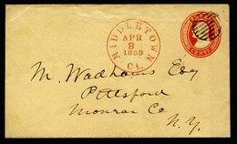 A6153) US Brief Middletown 08.04.59 N. Pittsford Gitterstempel - 1847-99 Unionsausgaben