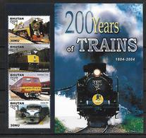 BHOUTAN  Feuillet  N°  ( 2004 )    * *   Trains - Eisenbahnen