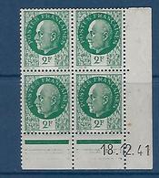 "FR Coins Datés YT 518 "" Pétain 2F00 Vert "" Neuf** Du 18.12.41 - 1940-1949"