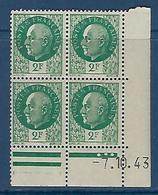 "FR Coins Datés YT 518 "" Pétain 2F00 Vert "" Neuf** Du 7.10.43 - 1940-1949"