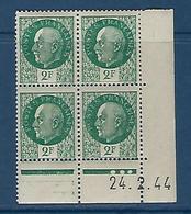 "FR Coins Datés YT 518 "" Pétain 2F00 Vert "" Neuf** Du 24.2.44 - 1940-1949"