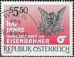 AUSTRIA 1992 Centenary Of Railway Workers' Trade Union - 5s50 First And Present Emblems FU - 1945-.... 2ème République