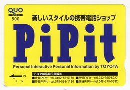 JAPON CARTE QUO PREPAYE TOYOTA PIPIT Personal Interactive Personal Information By TOYOTA - Autres