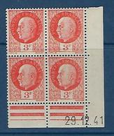 """FR Coins Datés YT 521 """" Pétain 3F Orange """" Neuf** Du 29.12.41 - 1940-1949"""