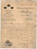 VP14.792 - Facture - Ancienne Maison BAPST & FALIZE Joaillier De La Couronne De France à PARIS Pour Mme De NONNEVILLE - France