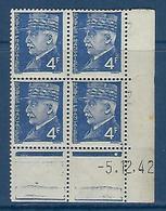 """FR Coins Datés YT 521A """" Pétain 4F Bleu """" Neuf** Du 5.12.42 - 1940-1949"""