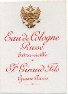 Etiquette Parfum Grasse Giraud Eau De Cologne Extra Vieille Russe Russia Fleur Dorée Gaufrée - Etiketten