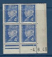 """FR Coins Datés YT 521A """" Pétain 4F Bleu """" Neuf** Du 4.6.43 - 1940-1949"""